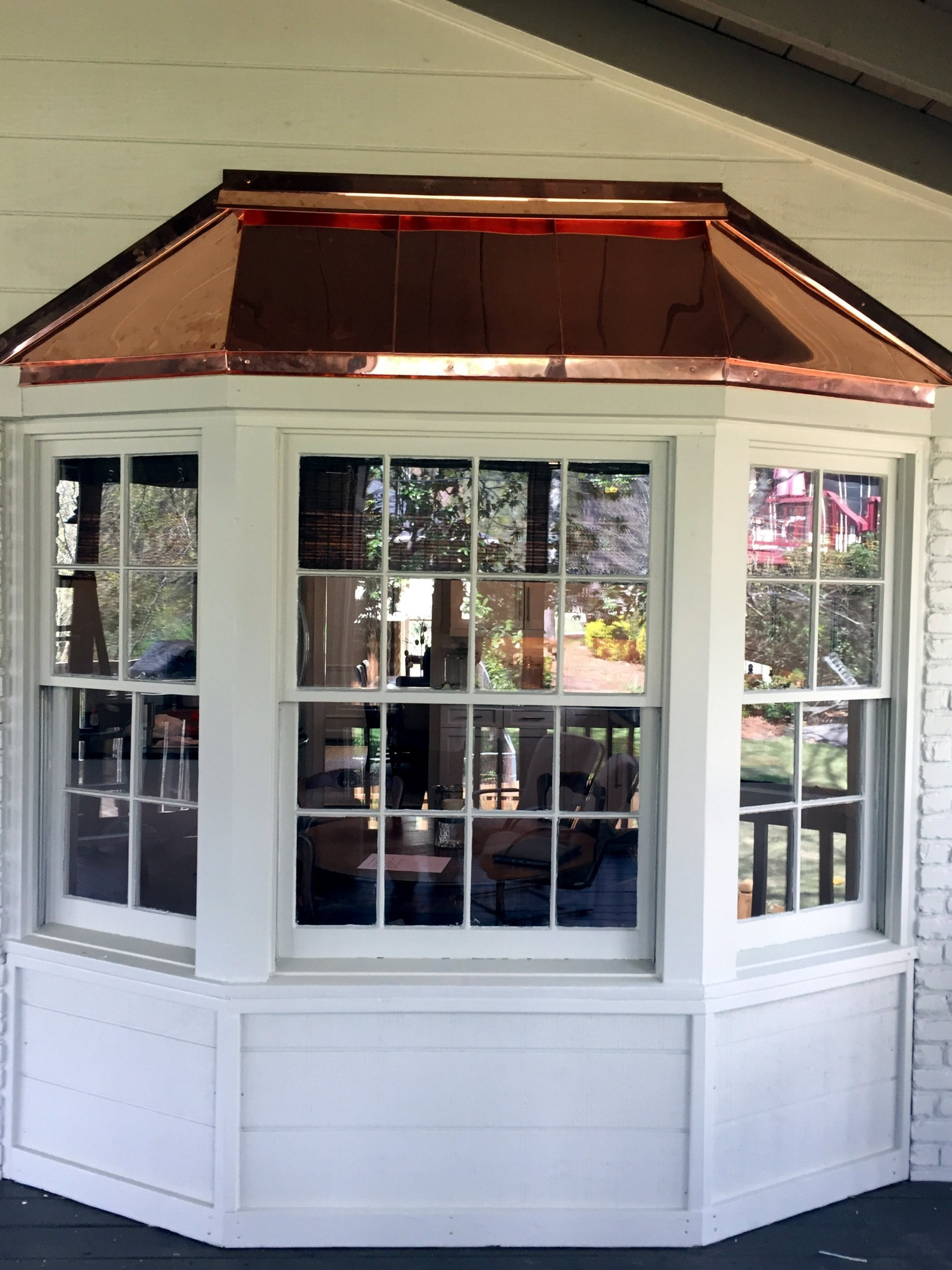 Copper bay window top we installed in Vestavia AL