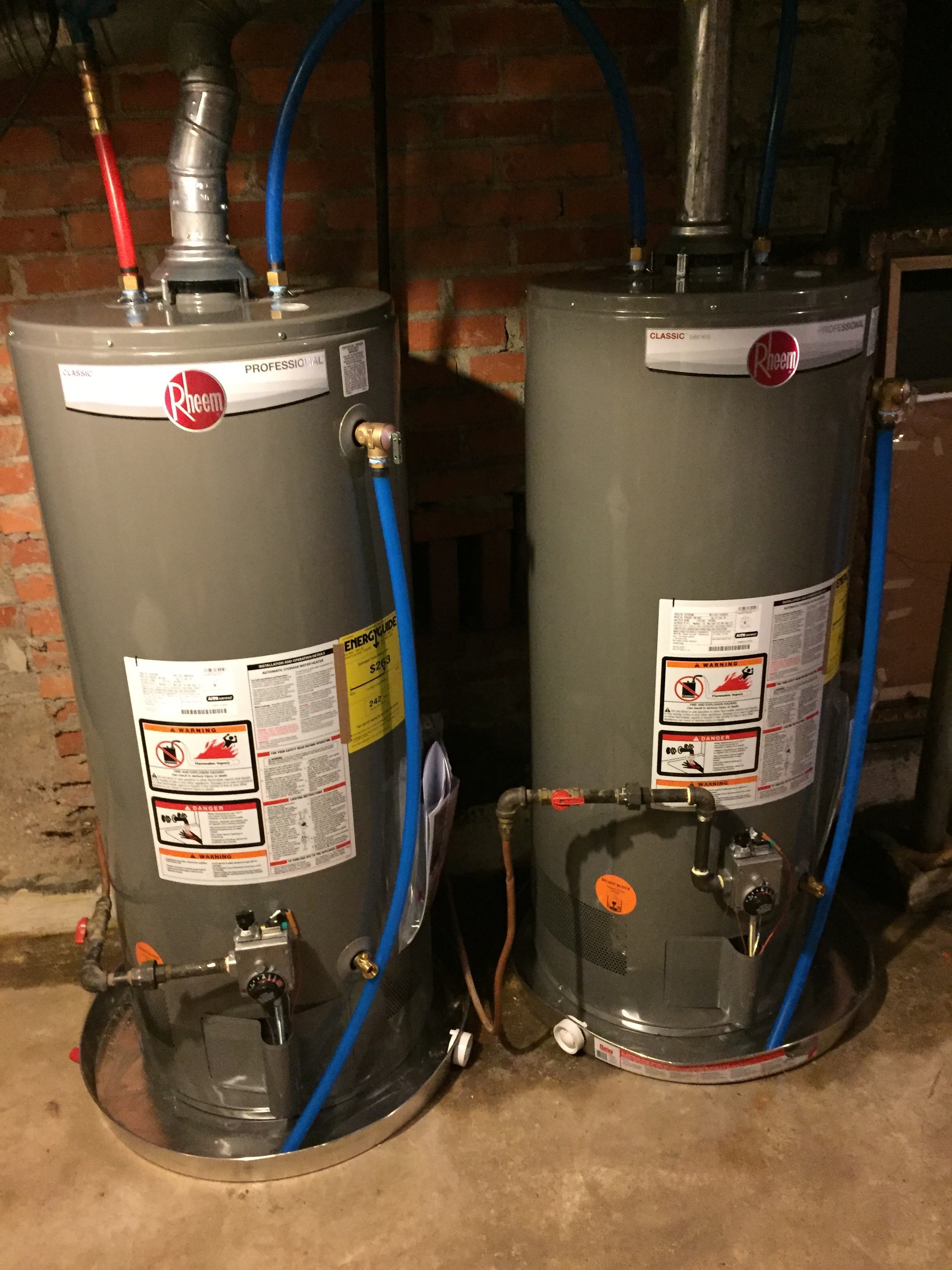 New Rheem Classic Series Twin Gas Water Heaters in Alabama